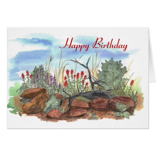Nevada Desert Indian Paintbrush Birthday Card