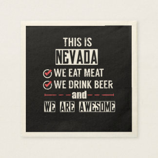 Nevada Eat Meat Drink Beer Awesome Napkin