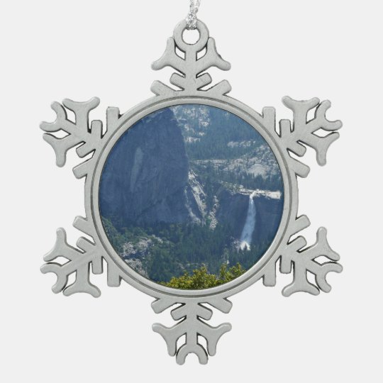 Nevada Falls from the Panorama Trail Yosemite Pewter Snowflake Ornament