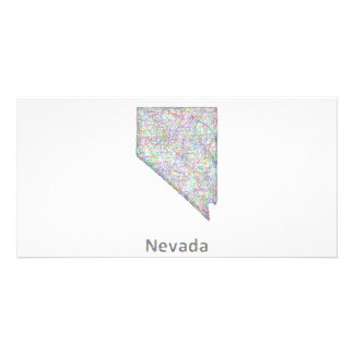 Nevada map personalized photo card
