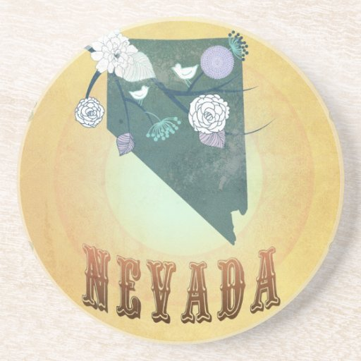 Nevada Map With Lovely Birds Beverage Coaster