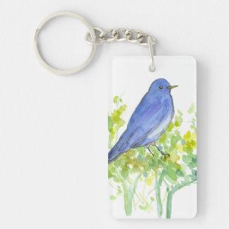 Nevada State Bird Mountain Bluebird Sagebrush Keychain