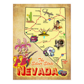Nevada State Map Postcard