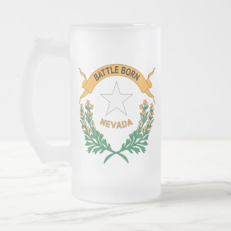 NEVADA SYMBOL FROSTED GLASS BEER MUG