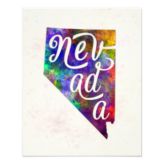 Nevada U.S. State in watercolor text cut out Photo Print