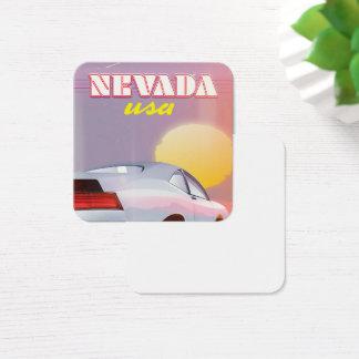 Nevada USA Setting sun sports car Square Business Card