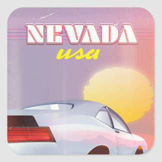 Nevada USA Setting sun sports car Square Sticker