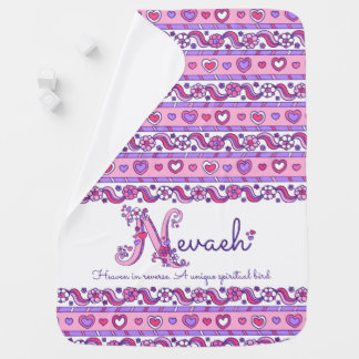 Nevaeh personalized N name meaning baby blanket