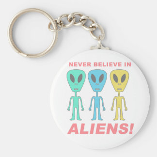 Never Believe in Aliens! Basic Round Button Keychain