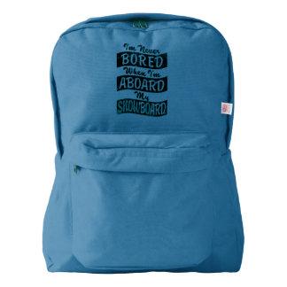 Never BOARD ABOARD my SNOWBOARD (Blk) Backpack