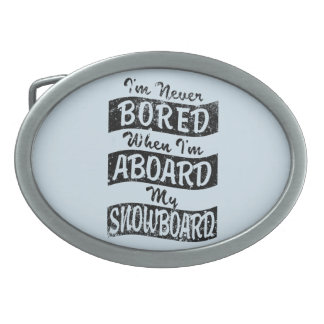 Never BOARD ABOARD my SNOWBOARD (Blk) Belt Buckles