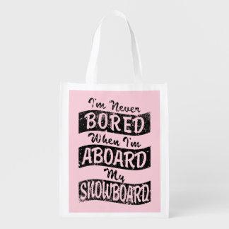 Never BOARD ABOARD my SNOWBOARD (Blk) Market Tote