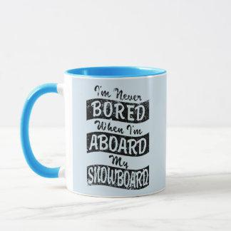 Never Bored ABOARD my SNOWBOARD (Blk) Mug