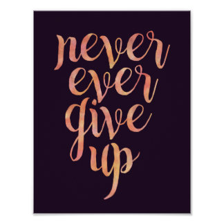 NEVER EVER GIVE UP motivational poster