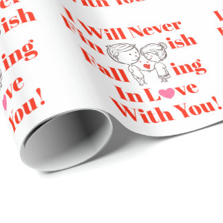 Never Finish Falling In Love Valentines Day Couple Wrapping Paper