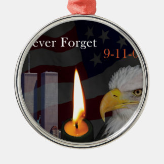 Never Forget 9-11-01 Silver-Colored Round Ornament
