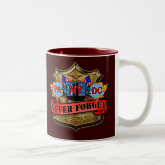 Never Forget 9/11 Badge Style Design Two-Tone Coffee Mug