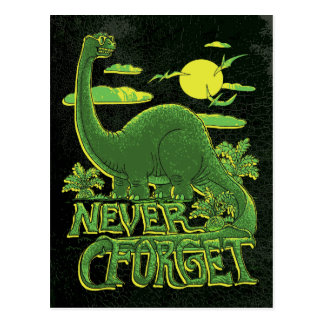 Never Forget Brontosaurus Dinosaur With Shades Postcard
