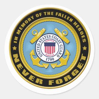 Never Forget Coast Guard copy Classic Round Sticker