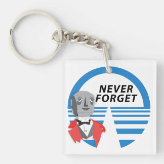 Never Forget Double-Sided Square Acrylic Keychain