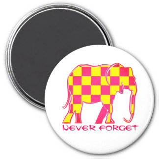 Never Forget Elephant Silhouette Checkered Pink Magnet
