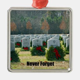 Never Forget Silver-Colored Square Ornament