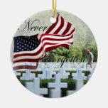 Never Forgotten - Memorial Day Round Ceramic Ornament