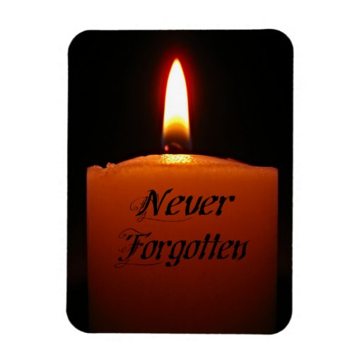 Never Forgotten Remembrance Candle Flame Rectangle Magnet
