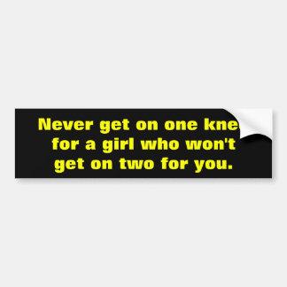Never get on one knee bumper sticker