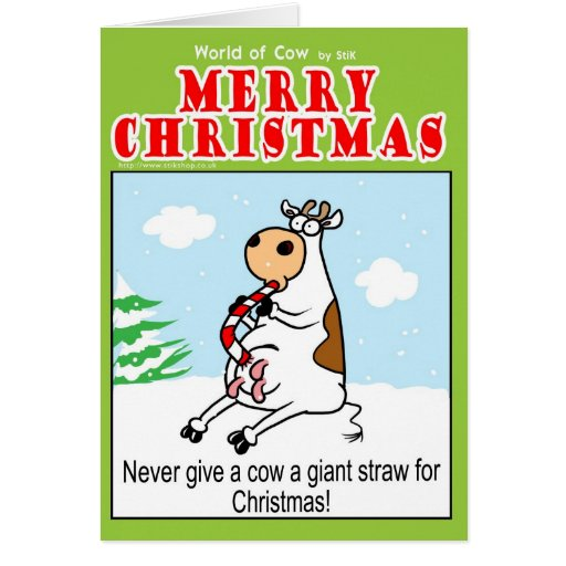Never give a Cow a giant straw for Christmas Cards