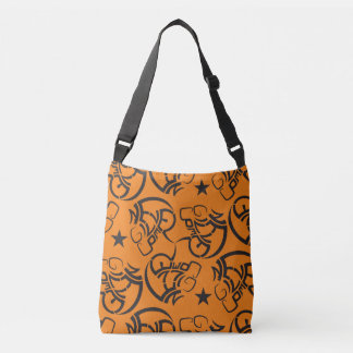 Never give up all over print orange black tote