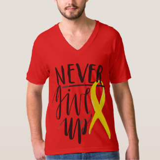 NEVER GIVE UP American Apparel Fine Jersey V-neck T-Shirt