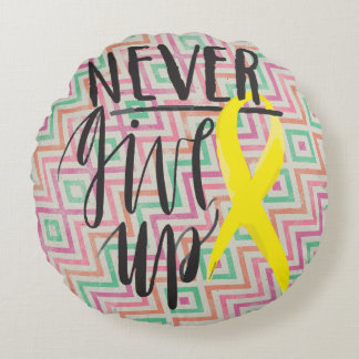 """NEVER GIVE UP Cotton Round Throw Pillow (16"""")"""