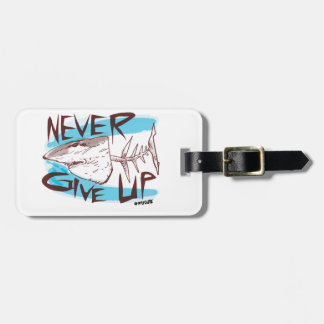never give up great white shark cartoon style bag tag