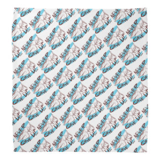 never give up great white shark funny cartoon bandana