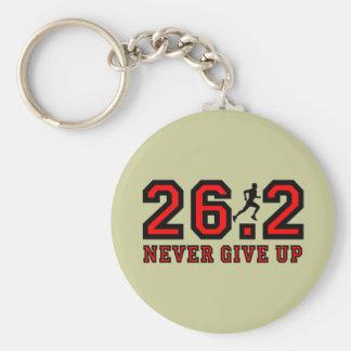 Never give up marathon basic round button keychain