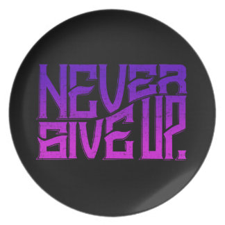 Never Give Up Melamine Plate Purple Text
