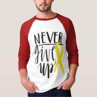NEVER GIVE UP Men's Basic 3/4 Sleeve Raglan TShirt