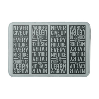NEVER GIVE UP motivational bath mat