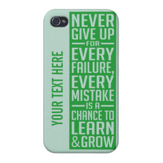 Never Give Up motivational cases iPhone 4 Case