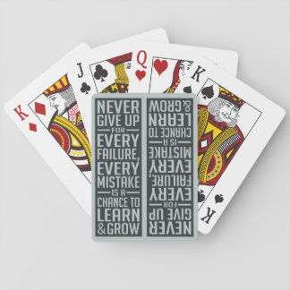 NEVER GIVE UP motivational playing cards