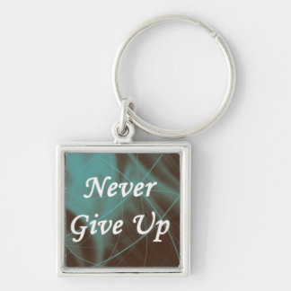 Never Give Up on a Teal Pattern Silver-Colored Square Keychain