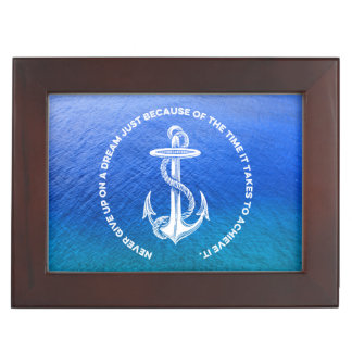Never Give Up On Dream Blue Ocean Vintage Anchor Memory Boxes