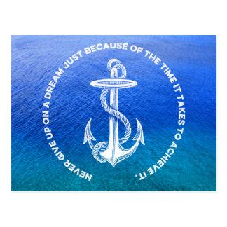 Never Give Up On Dream Blue Ocean Vintage Anchor Postcard