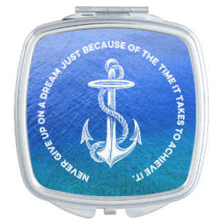 Never Give Up On Dream Blue Ocean Vintage Anchor Vanity Mirrors