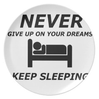 NEVER GIVE UP ON YOUR DREAMS KEEP SLEEPING DINNER PLATES