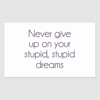 Never Give Up On Your Stupid Dreams Rectangular Sticker