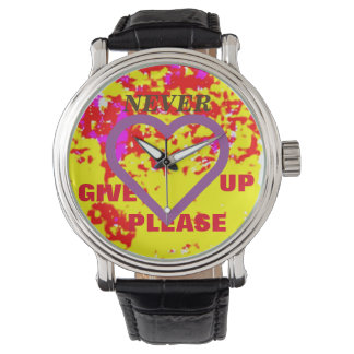 NEVER GIVE UP PLEASE / LARGE PURPLE HEART WRIST WATCH
