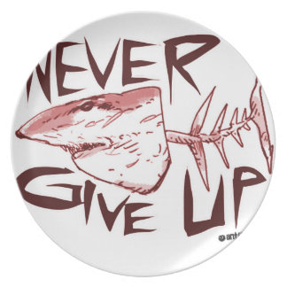never give up_red plate