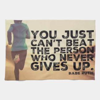 Never Give Up - Running Workout Inspirational Kitchen Towel